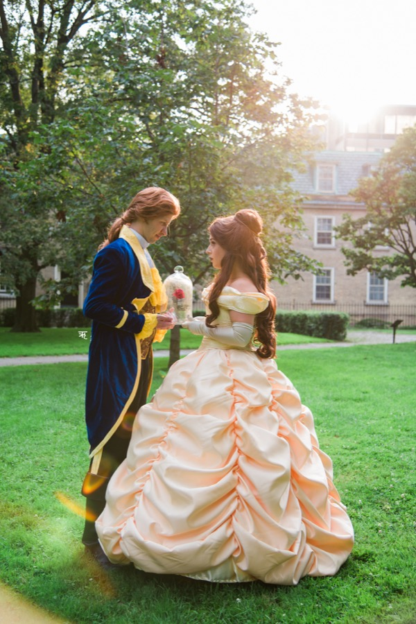 Princess Beauty and Prince holding a rose